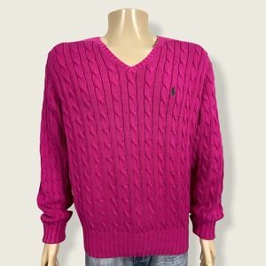 Polo Ralph Lauren Cable Knit Sweater Pink Medium